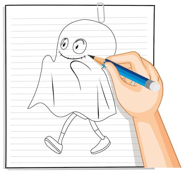 Hand schrijven van schattige spook mascotte schets