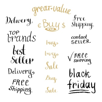 Hand schrijven verkoop tag collectie. kortingsset voor winkelen. vector