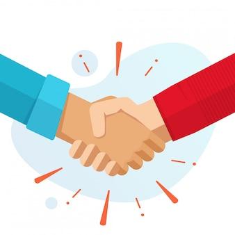Hand schudden handen partnerschap of vrienden welkom handdruk platte cartoon vectorillustratie geïsoleerd