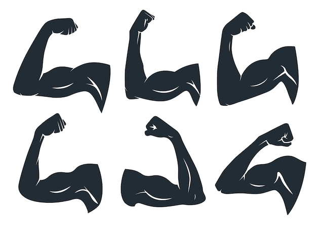 Hand spier silhouet. sterke armspieren, harde biceps en krachtgymnastiek. oksels spierfitness logo, body builder guy biceps of kracht armen bevoegdheden badge. geïsoleerde vector stencil iconen set