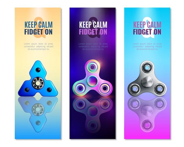 Hand spinner speelgoed verticale banner set