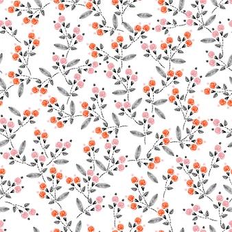 Hand steek borduurwerk naadloze patroon met vrijheid kleine bloemen decoratie vectorillustratie. hand getrokken elementen. ontwerp voor home decor, mode, stof, inwikkeling, behang