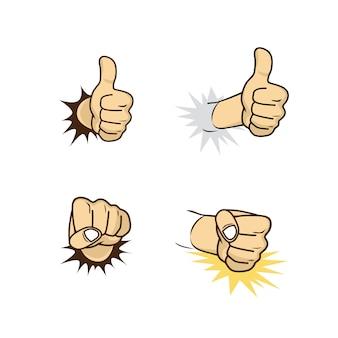 Hand teken gebaar cartoon thema vector kunst