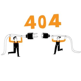 Hand tekenen 404 fout pagina vector illustratie doodle tekenstijl. voor een landingswebpagina