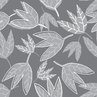 Hand tekenen abstract zwart-wit bladeren naadloze patroon