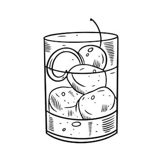 Hand tekenen alcohol cocktail met sinaasappelschil, ijsblokje en kersenreep.