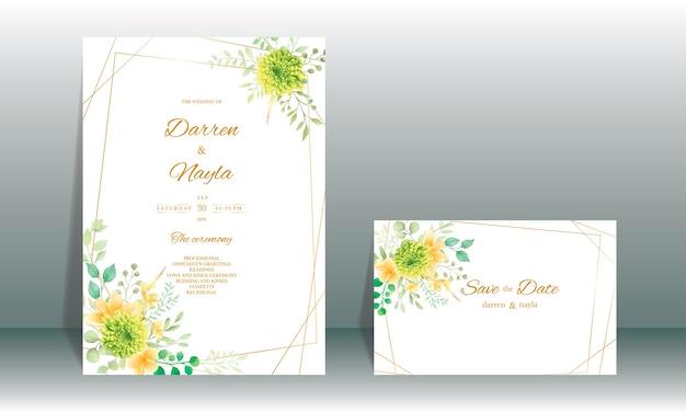 Hand tekenen aquarel bruiloft uitnodiging kaartsjabloon met bloemen en bladeren decoratie