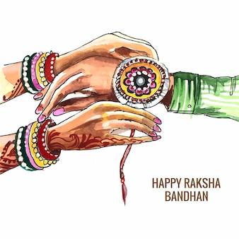 Hand tekenen aquarel raksha bandhan viering kaart achtergrond