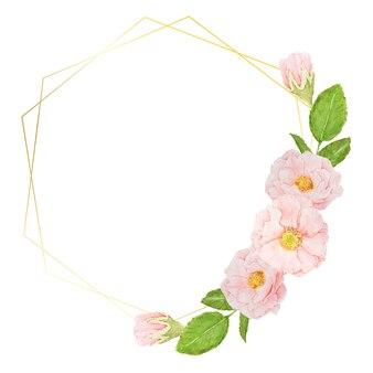 Hand tekenen aquarel roze rozen met gouden frame