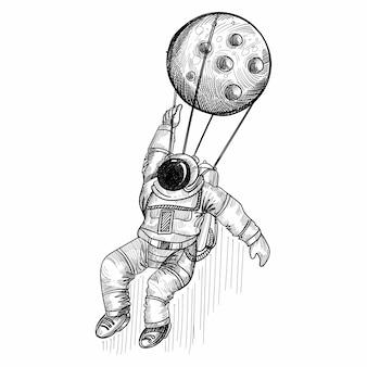 Hand tekenen astronaut kosmonaut in een schetsontwerp van de ruimte