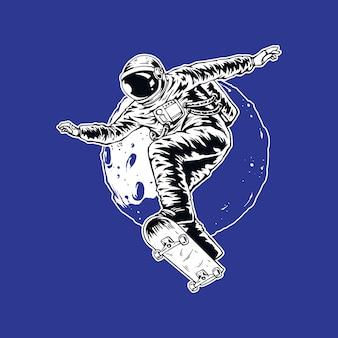 Hand tekenen astronaut met skateboarden stijl