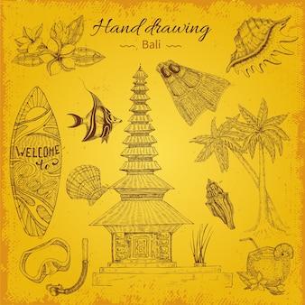 Hand tekenen balinese illustratie