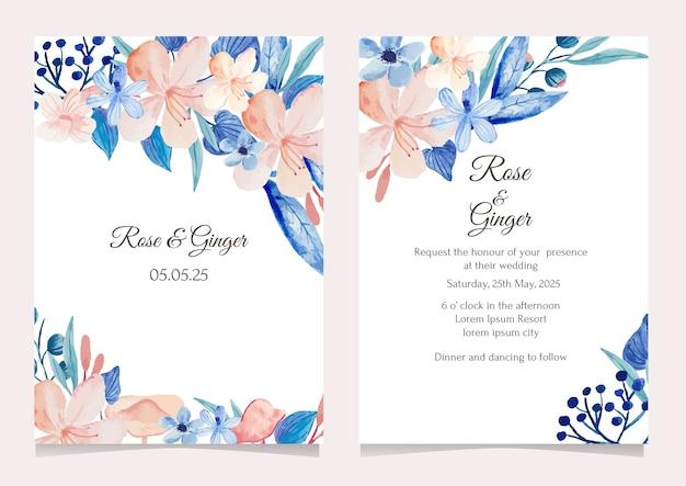 Hand tekenen blauwe en roze bloemen bruiloft uitnodiging kaartsjabloon