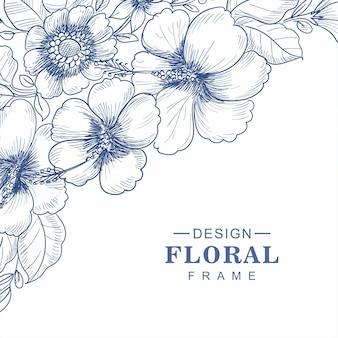 Hand tekenen bloemen schets kaart achtergrond