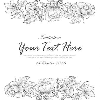 Hand tekenen bloemen zwart-wit uitnodigingskaart