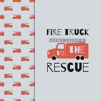 Hand tekenen brandweerwagen naadloze patroon en t-shirt afdrukken. vector jongens achtergrond in scandinavische stijl. red fire schattige auto's geïsoleerd op een grijze achtergrond. print voor kinder t-shirt, textiel, verpakking