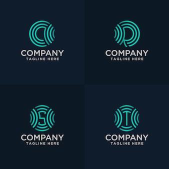 Hand tekenen brief qrs en t met signaal logo concept