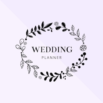Hand tekenen bruiloft frame
