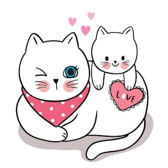 Hand tekenen cartoon schattig voor valentijnsdag met moeder en baby kat en hart Premium Vector