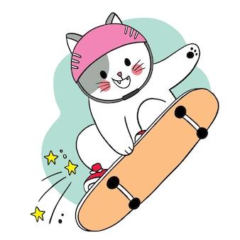 Hand tekenen cartoon schattige kat spelen sketch board vector.