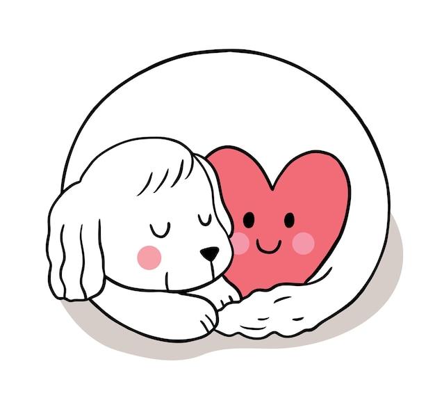 Hand tekenen cartoon schattige valentijnsdag, hond slaperig en hart