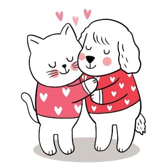 Hand tekenen cartoon schattige valentijnsdag, kat knuffelen hond