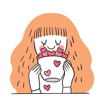 Hand tekenen cartoon schattige valentijnsdag, wman en harten in kopje koffie
