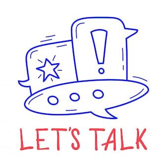 Hand tekenen chat zeepbel pictogram in doodle stijl met letters.