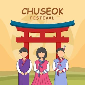 Hand tekenen chuseok festival concept. illustratie