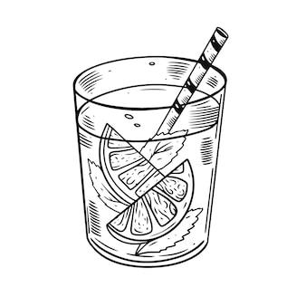 Hand tekenen cocktail met sinaasappel en munt.