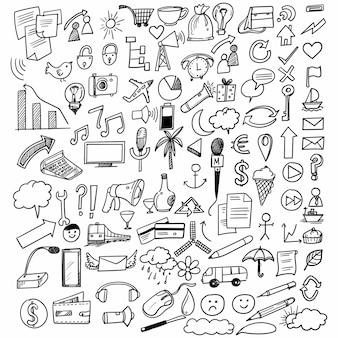 Hand tekenen doodle onderwijs en werk set