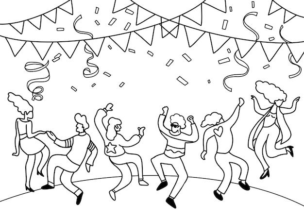 Hand tekenen doodle vector illustratie van grappige partij mensen, platte ontwerp