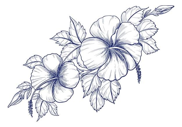 Hand tekenen en schetsen van decoratieve bloemen achtergrond