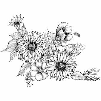 Hand tekenen en schetsen van decoratieve bloemen