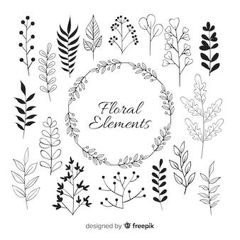 Hand tekenen florale decoratie-elementen