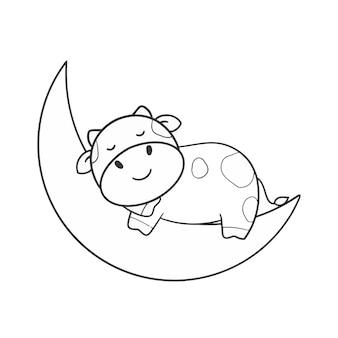 Hand tekenen gesneden koe slaap op de maan kleuren