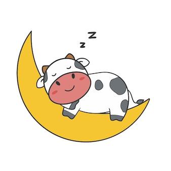 Hand tekenen gesneden koe slaap op de maan
