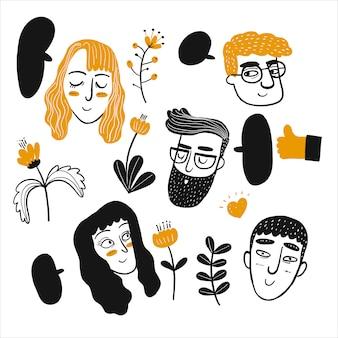 Hand tekenen gezicht van mensen