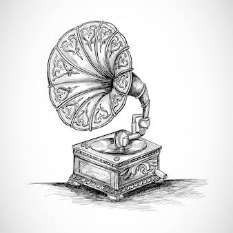 Hand tekenen grammofoon schetsontwerp
