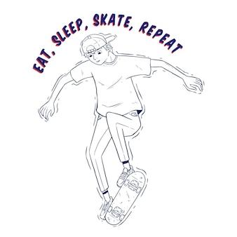 Hand tekenen hipster springen op skateboard