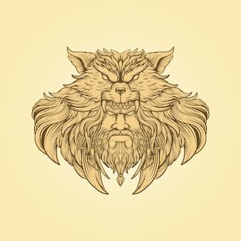 Hand tekenen illustratie hoofd wolf hoofd gravure stijl