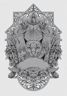 Hand tekenen illustratie met gegraveerde lijnstijl, het concept uit de caracal en het wilde leven