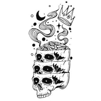 Hand tekenen illustratie schedel hoofd kroon hersenen maan gravure stijl