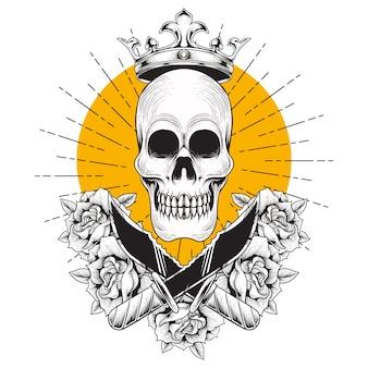 Hand tekenen illustratie schedel hoofd kroon mes roos gravure stijl