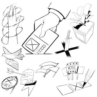 Hand tekenen illustratie set verkiezing