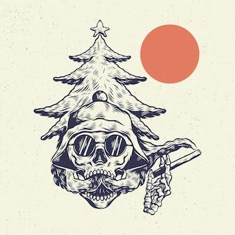 Hand tekenen illustratie skeleton schedel, het concept van schedel hoofd met rokende wolken stijl vape.