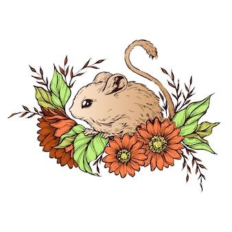 Hand tekenen karakter muis met bloemen
