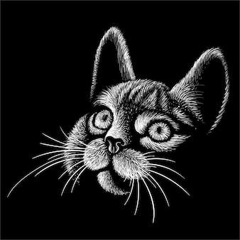 Hand tekenen kat hoofd illustratie