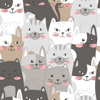 Hand tekenen katten naadloze patroon