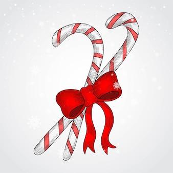 Hand tekenen kerst candy cane met rode strik kaart